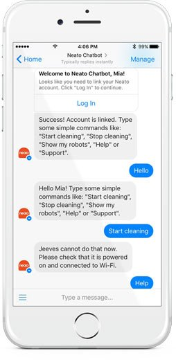 Neato Robotics Facebook Chatbot and Alexa Skill