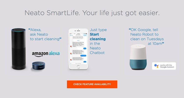 Neato works with Amazon Alexa, Facebook Chatbot, and Google Home